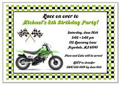 Dirt Bike Birthday Party Invitations Green  $1.00 each http://www.festivityfavors.com/item_182/Dirt-Bike-Birthday-Party-Invitations-Green.htm