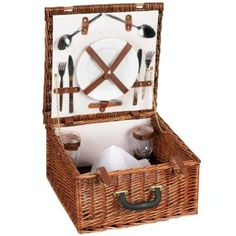 Picnic anyone! Here is a great looking picnic set from WHITNEY DESIGN for service for two. The square shaped basket is made from all natural willow a Picnic Set, Summer Picnic, Summer Fun, Wicker Picnic Basket, Wicker Baskets, Gift Baskets, Willow Hand, Adult Lunch Box, Garden Picnic