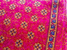 Block Print Fabric Cotton Floral Indian Blue Camel Pink by RaajMa