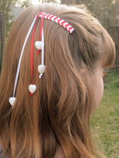 Valentine's Day 80's Retro Ribbon Barrette Hair by NOLAlphabet, $6.50