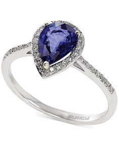 Royale Bleu by EFFY Diffused Sapphire (1 ct. t.w.) and Diamond (1/6 ct. t.w.) Pear Ring in 14k White Gold  $854.25