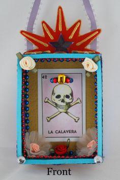 La Calavera Skull Mexican Folk Art Retablo