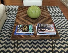 Reclaimed Wood Coffee Table with Hairpin Legs - Wood Table - Chevron Table SALE - 15% OFF with COUPON code