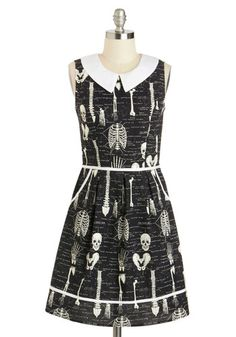 Rad to the Bone Dress - Cotton, Black, White, Novelty Print, Peter Pan Collar, Pockets, Casual, A-line, Sleeveless, Collared, Rockabilly, Qu...