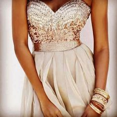Sweetheart champagne sequins prom dress