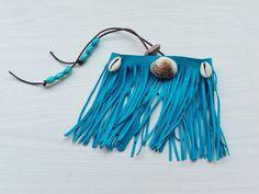 Blue upper arm seashell bracelet arnlet with fringes from SpectralStories.