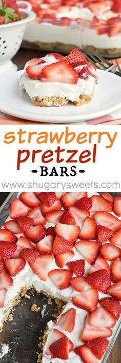 Strawberry Pretzel, Strawberry Desserts, Köstliche Desserts, Dessert Drinks, Best Dessert Recipes, Dessert Bars, Sweet Recipes, Strawberry Cheesecake, Dessert Simple