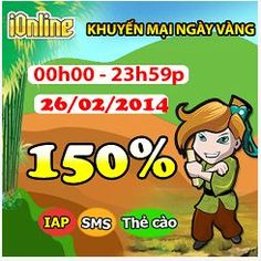 iOnline khuyến mãi tặng 150% thẻ nạp http://taigameionline.vn/