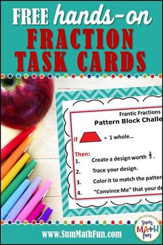 In this blog post find out how to introduce, review, and extend fractions using Pattern Blocks. Included are FREE and engaging fraction task cards. They will not only provide fun and practice but will challenge your kids in new ways as they use Pattern Blocks to explore fractions. #fractions #equivalentfractions #freeprintables Fraction Games, Fraction Activities, Math Resources, Math Activities, Math Games, School Resources, Teaching Fractions, Math Fractions, Classroom Freebies