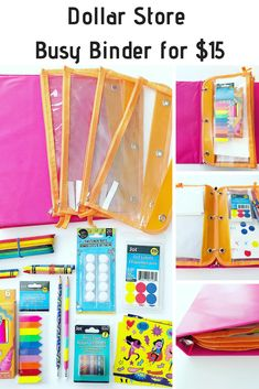 Dollar Store Busy Binder Keeping kids entertained on-the-go is never easy! This awesome Dollar Tree hack means I had 4 busy bag activities easily stored for both kids to enjoy during our vacation. Kids Travel Activities, 4 Year Old Activities, Airplane Activities, Road Trip Activities, Toddler Learning Activities, Preschool Activities, Indoor Activities, Family Activities, Summer Activities