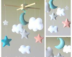 Baby-Mobile Wolke Mond-Wolken-Mobile Handy von lovefeltmobiles