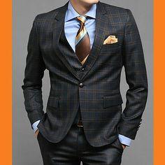 For Mens Premium Slim Fit 1BUTTON SUITS NAVY CHECK 34R~40R with pants + Vest 656