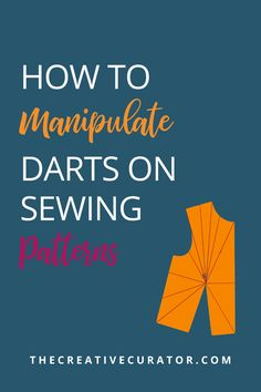 Learn how to manipulate darts on your sewing patterns with this guide to dart manipulation. You'll learn about the different positions that darts can be transferred to on the bodice block as well as the different ways to manipulate them (pivoting and slash and spread methods)! Easy Sewing Projects, Sewing Hacks, Sewing Tutorials, Sewing Patterns, Sewing Tips, Pattern Making Books, Dart Manipulation, Pattern Cutting, Pattern Drafting