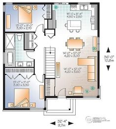 1st level Small Affordable modern house plan with open floor plan concept, unfinished basement - Rising Moon 2