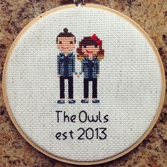 This adorable twinning couple was so fun to do. My first man-bun! #crossstitch