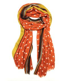 Another great find on #zulily! Rust Stripe & Polka Dot Scarf #zulilyfinds