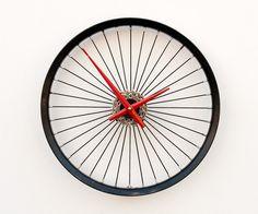 Recycled Bicycle Wheel clock. $96.00, via Etsy.