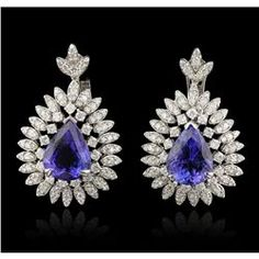 14KT White Gold 14.32ctw Tanzanite and Diamond Earrings