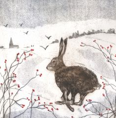 'First Snow' By Printmaker Sarah Bays. Blank Art Cards By Green Pebble. www.greenpebble.co.uk
