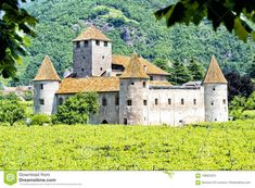 Photo about The historical beautiful walls and round towers of the castle `Castel Mareccio` with vineyards - Bozen, South Tyrol, Italyc. Image of history, maretsch, medieval - 109622224
