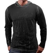WQ Premium Dark Charcoal Crinkle Henley Hoodie
