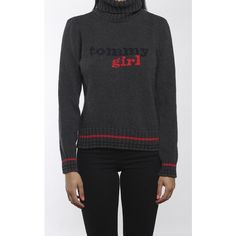 Vintage Tommy Girl Knit Turtleneck Sweater ($30) ❤ liked on Polyvore featuring tops, sweaters, vintage knit sweater, turtleneck tops, vintage tops, tommy hilfiger top and knit turtleneck sweater