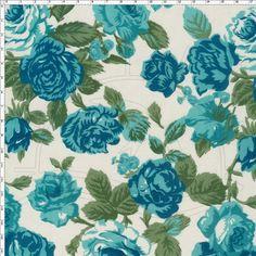 Tecido Estampado para Patchwork - Flores Azul Petróleo (0,50x1,40) no Bazar Horizonte