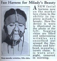1933 Antirughe. Un nuovo cablaggio facciale ora è sul mercato , ha la capacità di migliorare la bellezza della donna. E' un dispositivo da indossare la notte come illustrato nella foto. Alza il mento cadente e le rughe si distendono intorno alle labbra, guance e sulla fronte, i produttori che deve essere indossato durante la notte, e rimosso in mattinata.