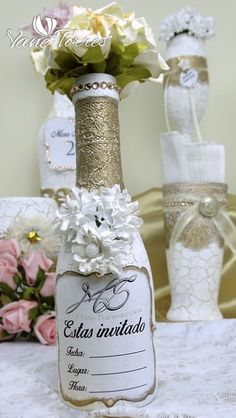 Pintado Botellas – Oferta | ArteClases.com Candles, Creando Ideas, Ideas Para, Jars, Glasses, Home Decor, Painted Bottles, Arts And Crafts, Upcycling