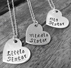 "Little Sister Middle Sister Big Sister"" Necklace Set Of 3"