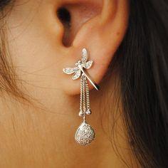 Dragonfly Dangle Earrings. Damselfly Sterling Silver Diamond