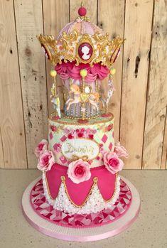 Carousel Christening Cake - http://cakesdecor.com/cakes/307681-carousel-christening-cake