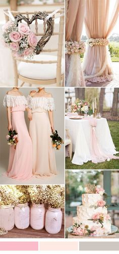 bohemian lace and chiffon bridesmaid dresses in rose and pink for fall wedding trends 2015 (Fall Top Wedding Colors) Wedding Color Combinations, Wedding Color Schemes, Wedding Colors, Color Combos, Rose Wedding, Fall Wedding, Dream Wedding, Rustic Wedding, Wedding Blush