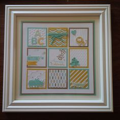 Zoo Babies Framed Art for Baby Boy - Stampin' Connection Baby Zoo, Box Frame Art, Shadow Box Frames, Baby Frame, Rustic Frames, Baby Scrapbook, Baby Crafts, Kids Cards, Stampin Up Cards