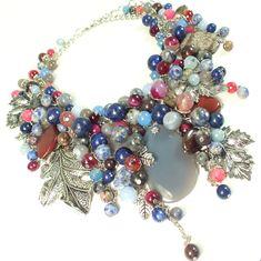 Купить Джинсы и Бордо. Колье из натуральных камней - комбинированный, синий, голубой, бордовый, розовый, серый