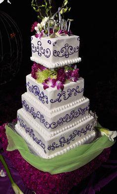 Wedding, Reception, Cake, Pink, Green, Purple, Wedding day bliss, llc - Project Wedding