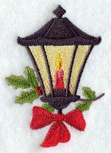 vintage christmas embroidery designs | vintage Christmas lamp machine embroidery design.