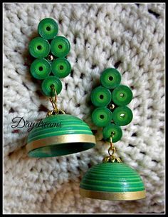 Quilled jhumka with studs shades of green by DAYDREAMS | Earrings | Indiebazaar