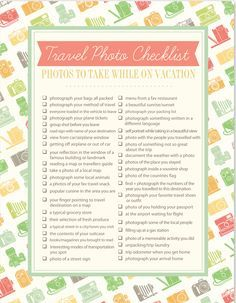 Free printable travel photo checklist. 50 Photo Ideas to take while on vacation. #travel #photography