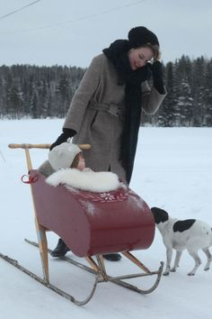Snow Sleigh, my grandpa made this kind of transporting system for me. It was light green. Notice the Swedish style kick sled
