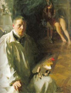 Anders Zorn, self portrait. Limited palette and soft edges.  www.art-and-supplies.com