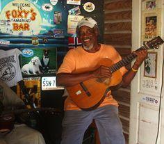 Foxy's playing guitar. White Bay, Jost Van Dyke, British Virgin Islands - BVI