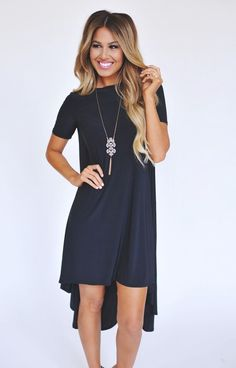 Solid Black High Low Dress - Dottie Couture Boutique