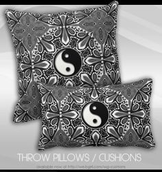 Tribal Black White Yin Yang Geometric Cushion #Pillow #home #decor #fengshui #balance