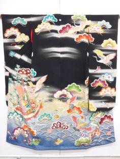 大正ロマン 宝船に鶴・松模様刺繍花嫁衣裳五つ紋振袖・長襦袢・丸帯・中着2種・和装小物・約12点set bridal costume