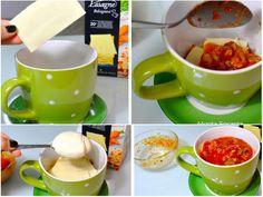 Lasanha Individual, na caneca, feita no micro ondas, porção só para mim, molho branco, queijo presunto e molho vermelho