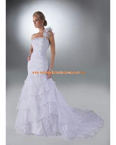 Luxuriöse maßgeschneiderte Brautmode aus Organza und Satin Einschulter mit Kapelle