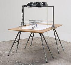 Tom Christoffersen: Henrik Menné Drawing Machine, 2007: ballpoint pen, paper, mdf, aluminum, iron, engine machine 140 x 105 x 155 cm drawings ca. 70 x 100 cm