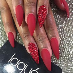Another way to make red nails even sexier is to opt for a stiletto shape. No matter what nail color you choose, stiletto nails are sexy. But red takes them to the next level. day nails easy nailart Red Matte Stiletto Nails with Red Rhinestones Matte Stiletto Nails, Red Acrylic Nails, Red Nail Art, Coffin Nails, Red Glitter Nails, Red Ombre Nails, Red Art, Red Make Up, Red Nail Designs