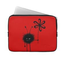 It's evil, but it's also kind of cute. And it loves flowers... loves eating them, in fact. It's the Evil Flower Bug. Funny and evil 13 inch laptop sleeve with a grinning cartoon creature with sharp teeth holding a flower on red background. $29.95 #laptop #laptopsleeves #red